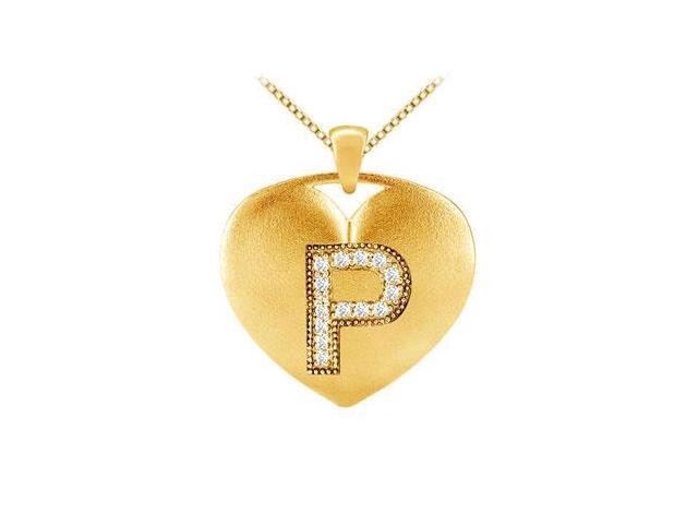 14k yellow gold milgrain set diamond initial P heart pendant with 0.14 carat tdw