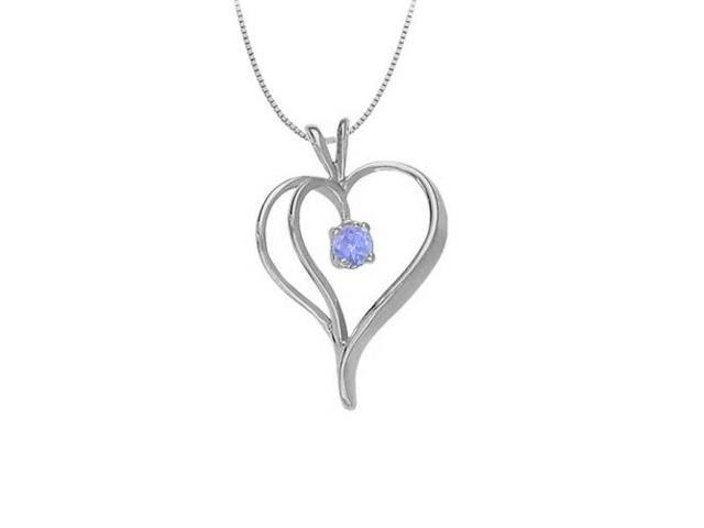 December Birthstone Tanzanite Heart Pendant in 14kt White Gold  0.33 CT TGW