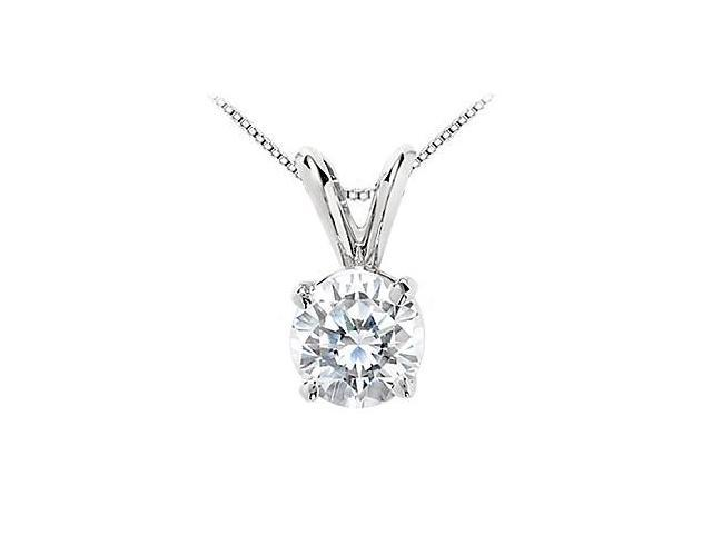 Round Cubic Zirconia Solitaire Pendant in 14K White Gold 3 Carat Triple AAA Quality