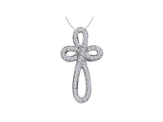 Diamond Ribbon Loop Cross Necklace in 14K White Gold 0.55 Carat Diamonds