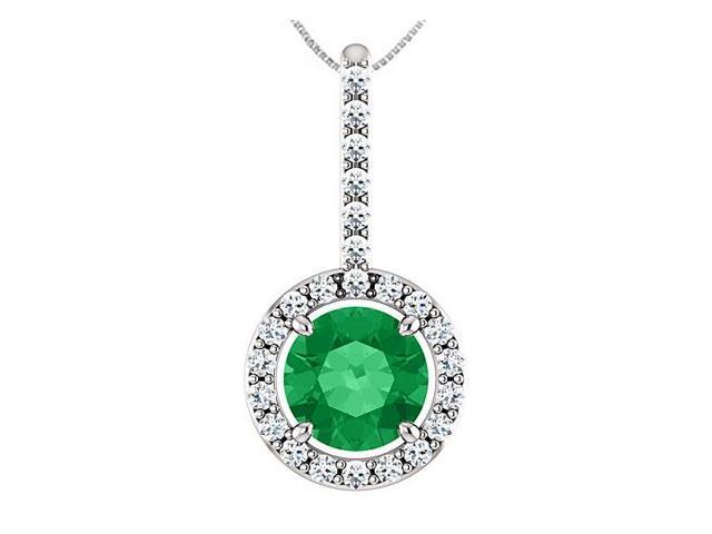 14K White Gold Diamond Halo Style Drop Pendant with 6 MM Green Emerald of 1.25 Carat TGW