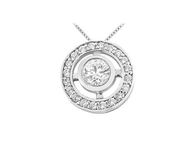 Rhodium Treated .925 Sterling Silver with Cubic Zirconia Pendant 0.50 Carat TGW
