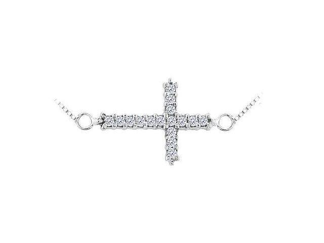 Sideways Cross Necklace with Diamond in 14K White Gold 0.16 Carats Diamonds