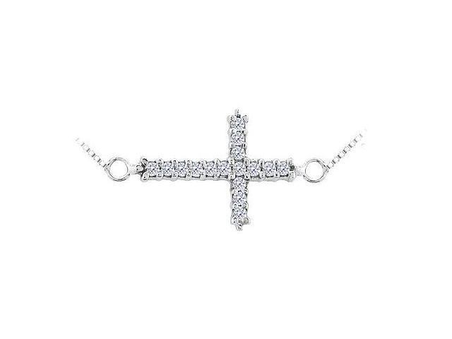 Sideways Cross Necklace with Diamond in 14K White Gold 0.16 Carats Diamonds