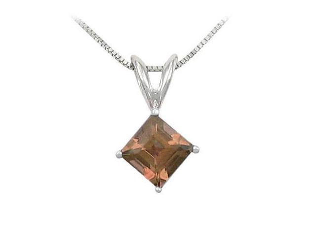 Smoky Topaz Solitaire Pendant  14K White Gold - 1.00 CT TGW