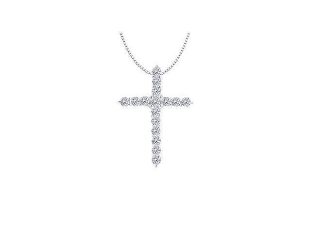 Diamond Cross Necklace in 14K White Gold 0.30 Carat Diamonds