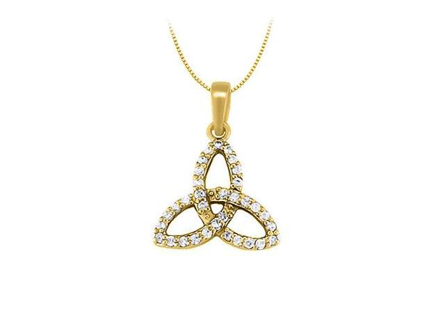 Cubic Zirconia Three Petal Pendant in Gold Vermeil over Sterling Silver 0.25 CT TGWJewelry Gift