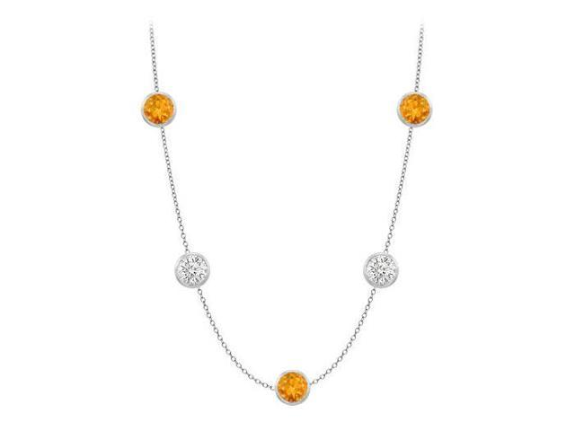 Station citrine necklace by the yard 35 carat in 14k white gold complete one yard long