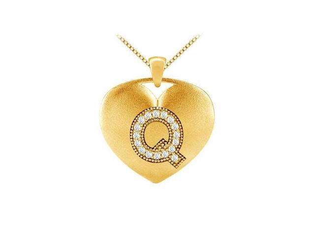diamond pendants initial Q heart design in yellow gold 14k with 0.17 carat diamonds