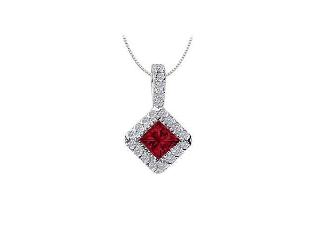 Ruby and Diamond Pendant  14K White Gold - 0.75 CT TGW