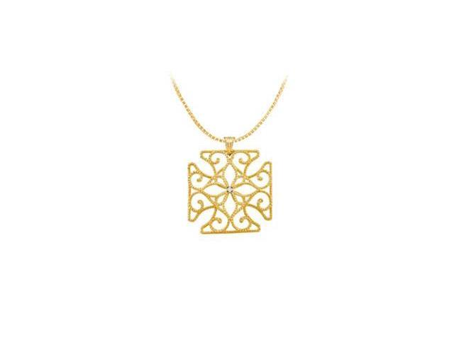 Diamond Medallion Pendant  14K Yellow Gold - 0.005 CT Diamond