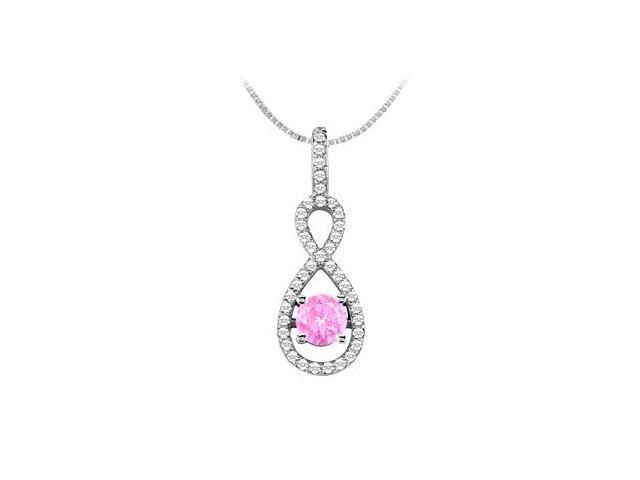 Created Pink Sapphire Pendant with Cubic Zirconia in 14K White Gold 1.50 Carat TGW