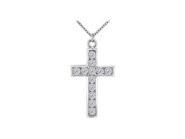 Cross Necklace with Channel Set diamonds in 14K White Gold 0.35 Carat Total Diamond Weight