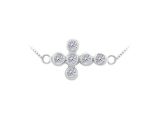 Diamond Sideways Cross Necklace in 14K White Gold 0.20 Carat Diamonds Bezel Setting