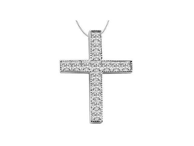 14K White Gold Cross with Princess Cut Diamond Pendant Necklace of 0.75 Carat Diamonds