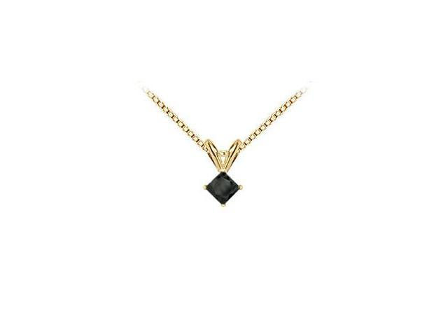 14K Yellow Gold  Princess Cut Black Diamond Solitaire Pendant - 0.50 CT. TW.