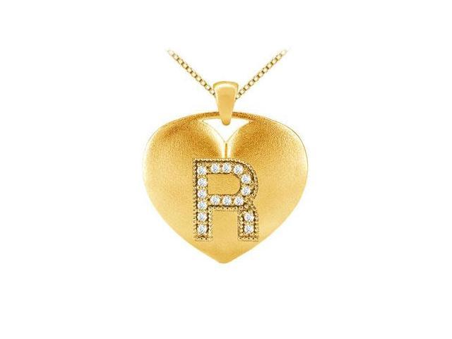 Alphabet R Diamond Heart Initial Pendant in 14K Yellow Gold with 0.16 Carat Diamonds