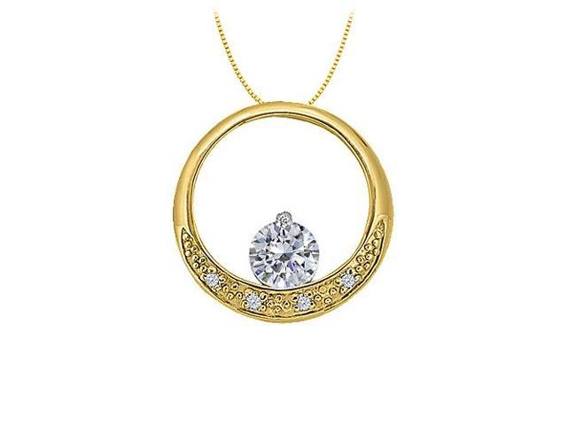 Dancing Cubic Zirconia Circle Pendant in Gold Vermeil over Sterling Silver 0.50 CT TGW