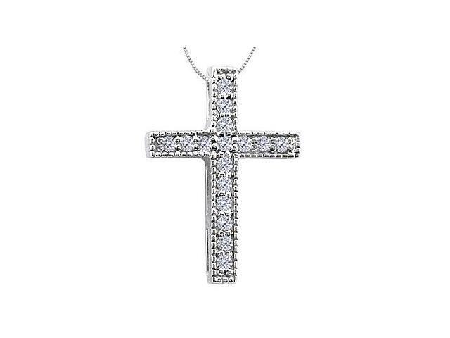 Cross Pendant Necklace in 14K White Gold Milgrain Diamond Accented of 0.15 Carat Diamonds