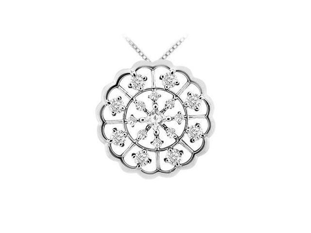 Diamond Flower Pendant  14K White Gold - 1.00 CT Diamonds
