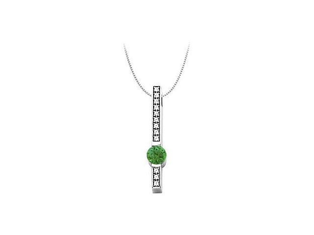 Cubic Zirconia and Created Emerald Fashion Pendant in 14kt White Gold 0.75.ct.tw