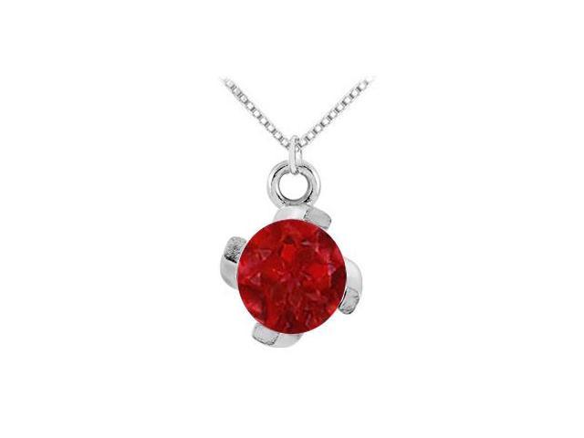 July Birthstone Created Ruby Pendant in  Sterling Silver 1.00 CT TGW
