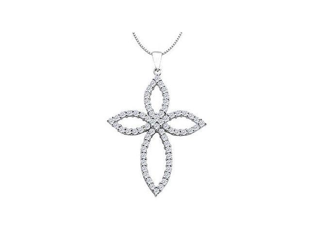 14K White Gold Cross Diamond of Religious Necklace Design as Clover Leaf with 1.55 Carat Diamond