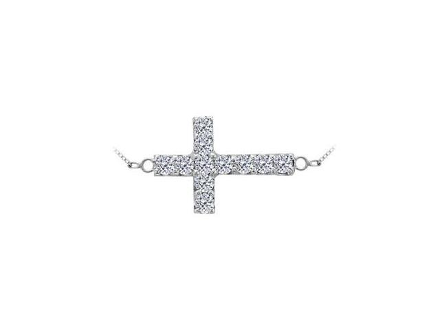 14K White Gold Sideways Cross Necklace with Diamonds of 0.33 Carat