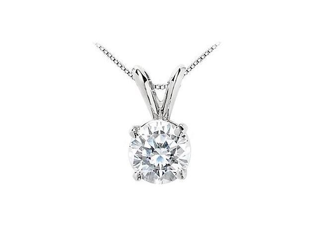 Cubic Zirconia Solitaire Pendant in 14K White Gold 5 Carat Round Cut Triple AAA Quality