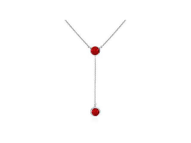 Simulated Ruby Bezel Set Drop Necklace in .925 Sterling Silver 0.20 Carat Total Gem Weight
