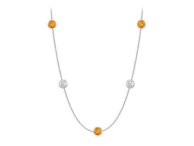 Citrine By The Yard Necklace with Cubic Zirconia Twenty Carat in 14K White Gold 36 Inch Long