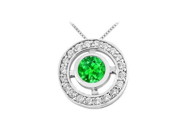 Half Carat Frosted Emerald and Cubic Zirconia Circle Pendant in Rhodium Treated 925 Sterling Sil