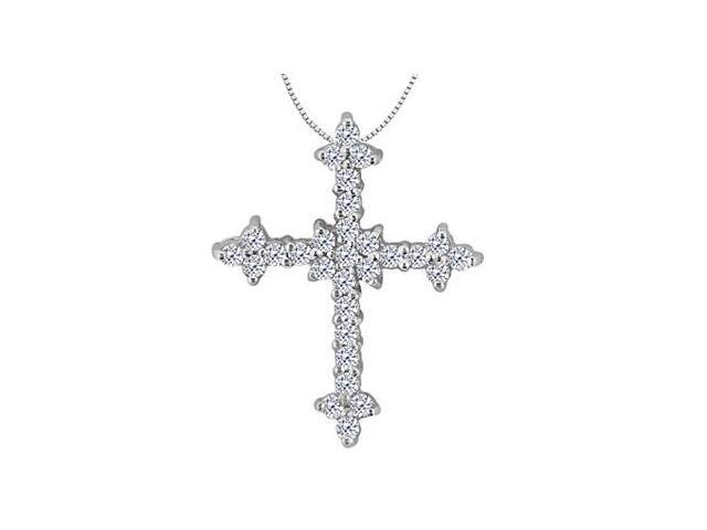 Cross Diamond Pendant in 14K White Gold Half a Carat Diamonds