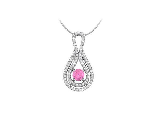 Brilliant Cut Diamond with Half Carat Pink Sapphire Pendant in 14K White Gold 1.25 Carat TGW