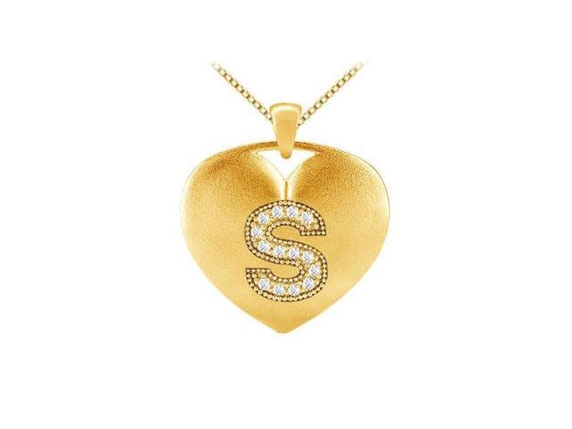 Diamonds Letter S Heart Initial Pendant with 0.14 ct diamonds in Yellow Gold 14K