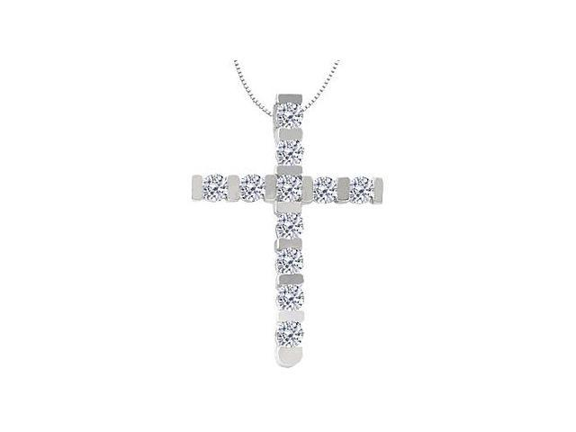 Religious 14K White Gold Cross Diamond Pendant with 0.55 Carat Diamonds