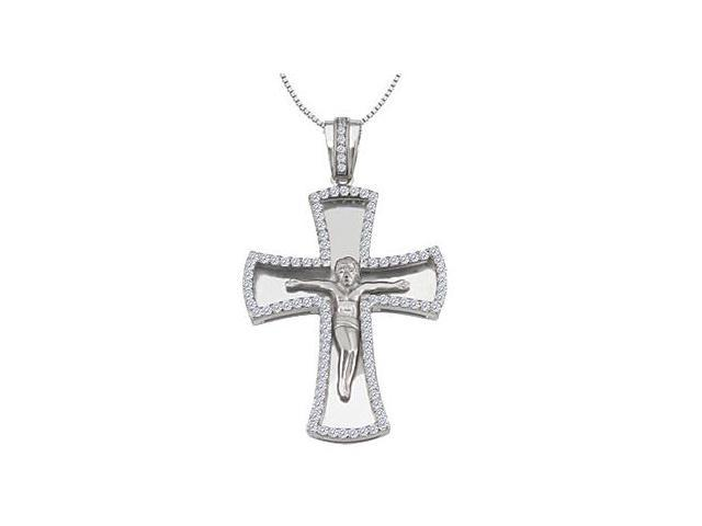 14K White Gold Cross with Jesus Christ Diamond Pendant of 1.10 Carat Diamonds