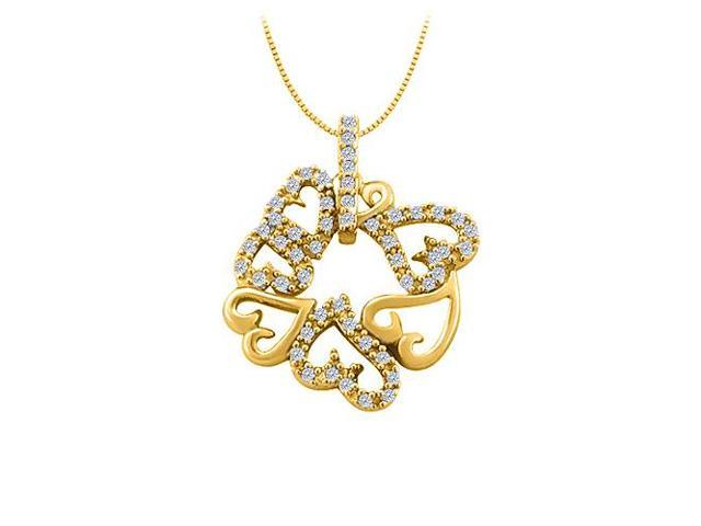 Cubic Zirconia 7 Hearts Fashion Pendant in Yellow Gold Vermeil over Sterling Silver 0.25 CT TGW