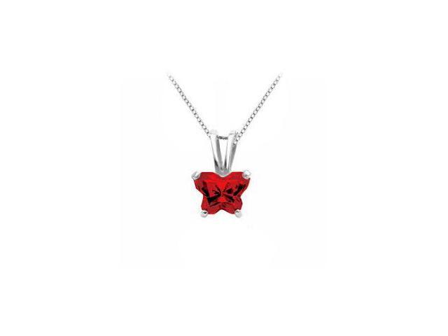 Butterfly Red CZ Pendant in .925 Sterling Silver Birthstone for January