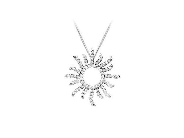 Diamond Sun Pendant  14K White Gold - 0.40 CT Diamonds