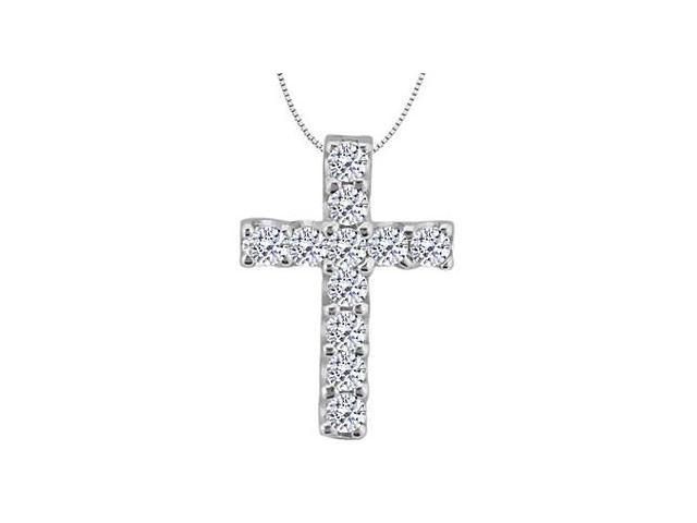 Diamond Cross of Religious Necklace in White Gold 14K with 0.33 Carat Diamonds