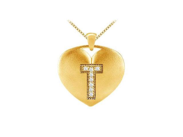 Yellow Gold 14K Heart Initial T Pendant with 0.08 Carat diamonds