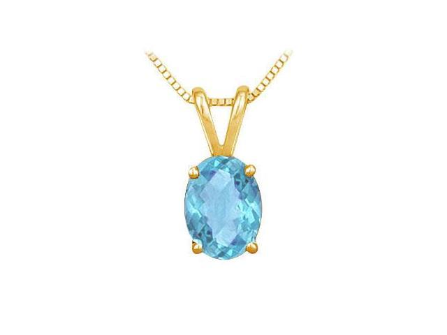 Blue Topaz Solitaire Pendant  14K Yellow Gold - 1.00 CT TGW