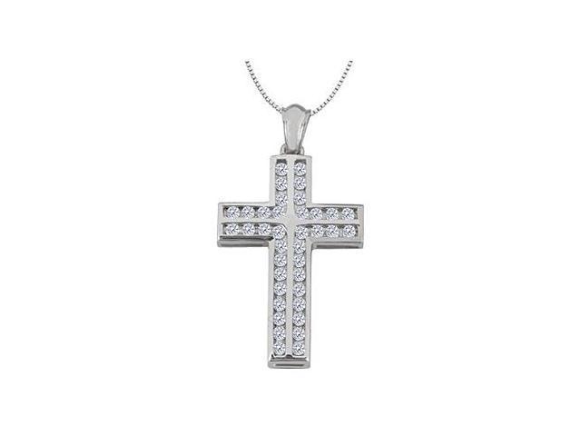 Channel Set Diamond Cross Pendant in 14K White Gold 1.10 Carat Diamonds