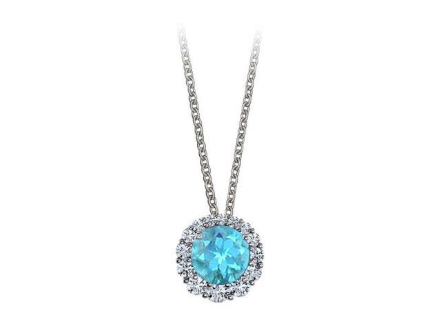 Halo Pendant with April Birthstone CZ and November Birthstone Blue Topaz White Gold 2.50 CT TGW