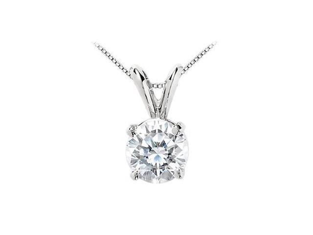 14K White Gold Round Cut Cubic Zirconia Solitaire Pendant with 7 Carat Triple AAA Quality