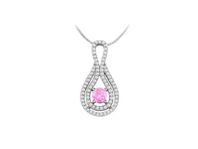 1 Carat Created Pink Sapphire and Cubic Zirconia Pendant in 14K White Gold 1.75 Carat TGW