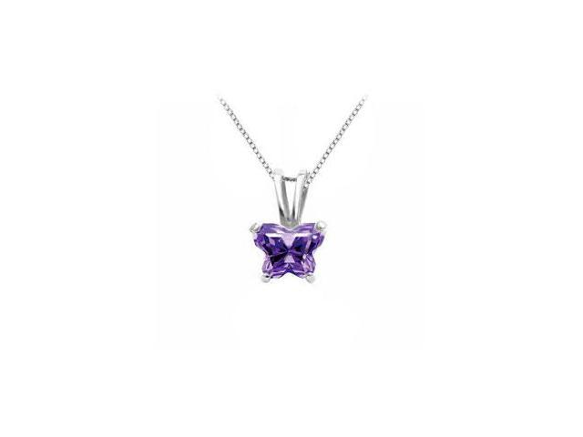 .925 Sterling Silver Butterfly Necklace Purple CZ Birthstone for February