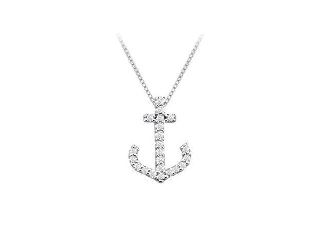 Diamond Anchor Pendant  14K White Gold - 0.15 CT Diamonds
