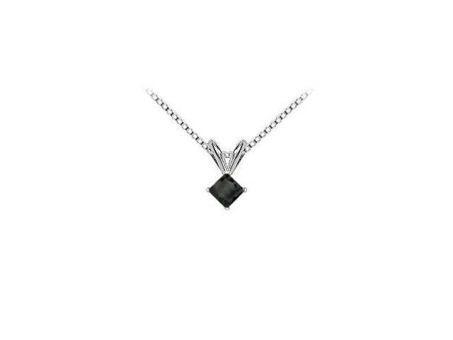 14K White Gold  Princess Cut Diamond Solitaire Pendant - 0.75 CT. TW.